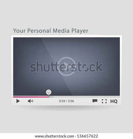 Video player for web - stock vector