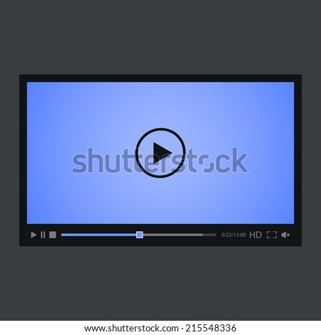 Video player for web, isolated on gray background. Blue screen. Vector illustration, eps 8. - stock vector