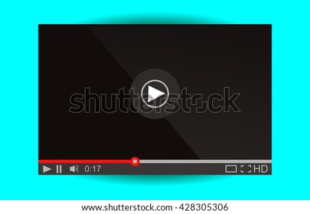 Video player for web. Media Player Interface. Minimalistic Design. Flat Style.Player MockUp - stock vector