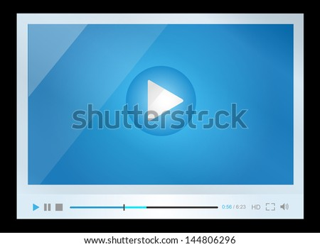 Video player for web, minimalistic design - stock vector