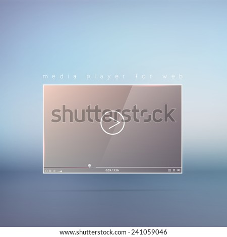 Video player, media interface for web. Vector illustration. - stock vector