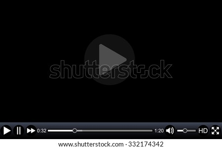 Video player template for web, movie screen  vector illustration - stock vector