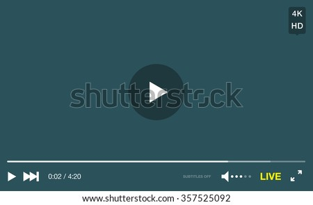 Video Player Window with Menu and Buttons Panel Vector - stock vector