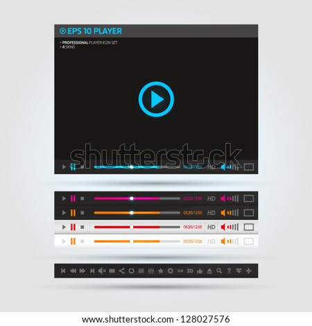 Video player with skins and icon set - stock vector