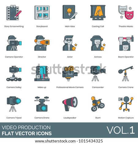 Video Production Icons Screenwriting Storyboard Casting 库存 ...
