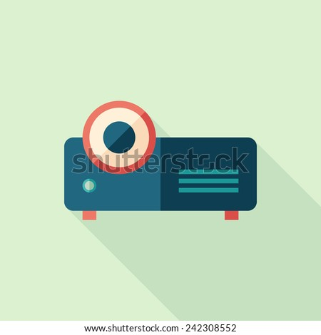Video projector flat square icon with long shadows. - stock vector