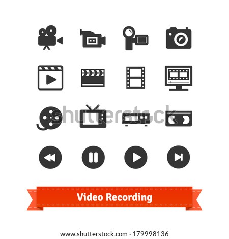 Video recording icon set on modern and retro media. - stock vector