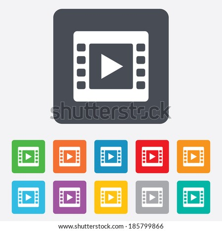 Video sign icon. Video frame symbol. Rounded squares 11 buttons. Vector - stock vector