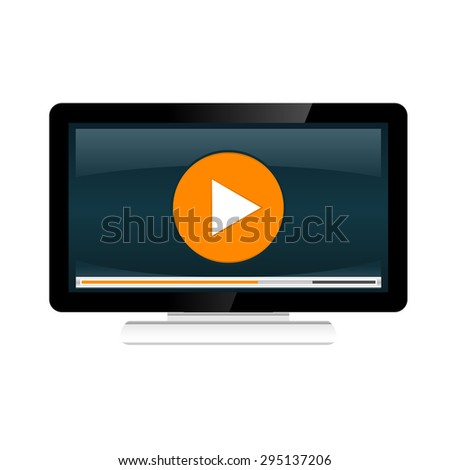 Video streaming concept illustration. Watching video on desktop.