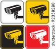 video surveillance camera sign. CCTV - stock photo