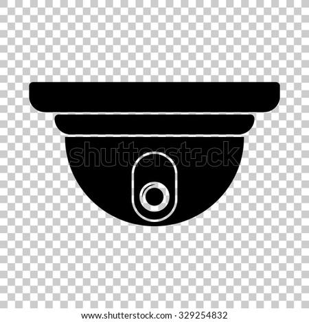 video surveillance camera vector icon - black illustration - stock vector