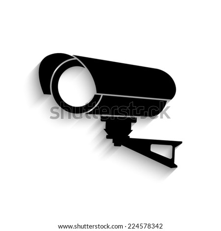 Video surveillance CCTV Camera - black vector icon with shadow  - stock vector