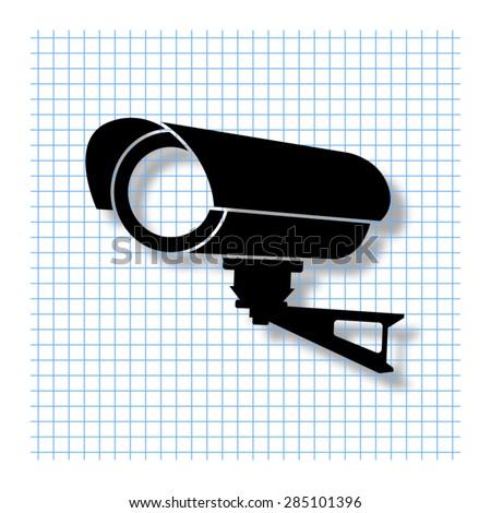 Video surveillance CCTV Camera - vector icon with shadow - stock vector