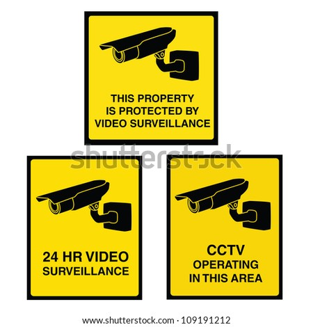 Video surveillance sign with yellow background and black camera. Property is protected by video surveillance. - stock vector