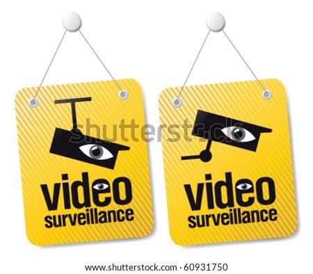 Video surveillance signs set. - stock vector