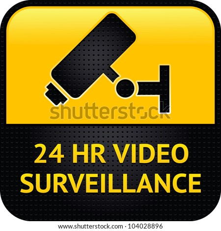 Video surveillance symbol, punched metal surface - stock vector