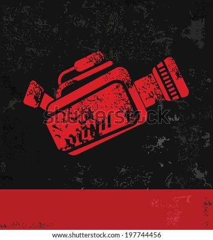 Video symbol,grunge vector - stock vector
