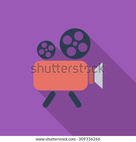 Videocamera icon. Flat vector related icon with long shadow for web and mobile applications. It can be used as - logo, pictogram, icon, infographic element. Vector Illustration. - stock vector