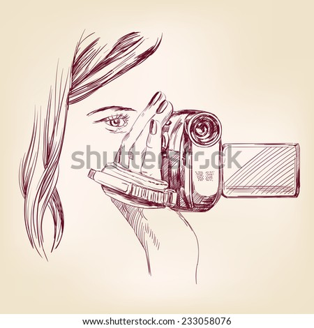 videographer hand drawn vector llustration realistic sketch - stock vector