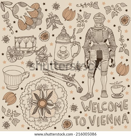 Vienna. background welcome to Vienna - stock vector