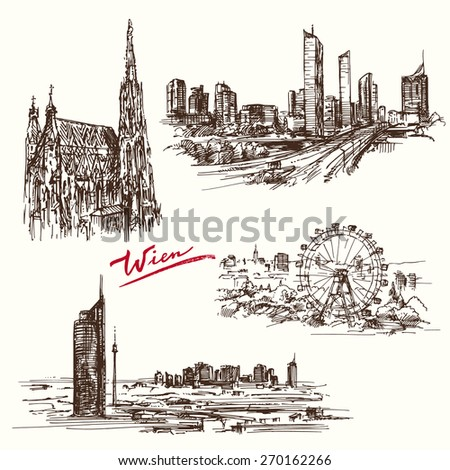 vienna - hand drawn collection - stock vector