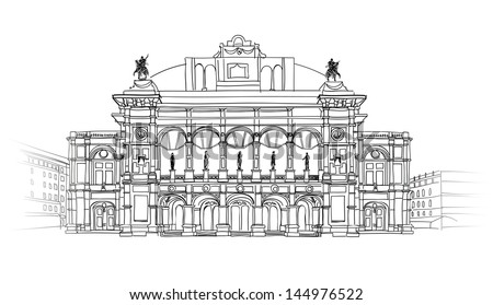 Vienna State Opera House, Austria. Wien Theater Wiener Staatsoper Building isolated. Architectural blueprint sketch. - stock vector