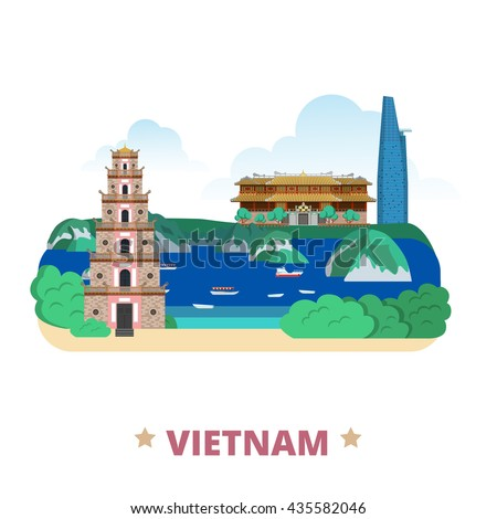 Vietnam country flat cartoon style historic place web vector illustration. World travel Asia collection. Bitexco Financial Tower City Imperial aka Complex Hue Monuments Ha Long Bay Thien Mu Pagoda. - stock vector