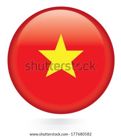Vietnam flag botton - stock vector