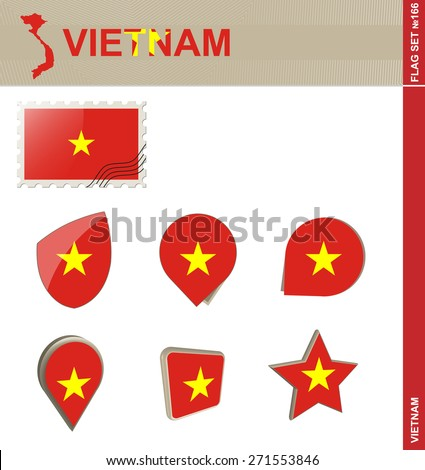 Vietnam Flag Set, Flag Set #166. Vector. - stock vector