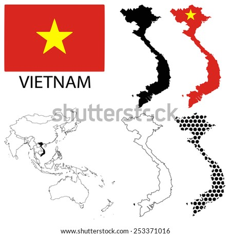 Vietnam - Four optional contour maps, National flag and Asia map vector - stock vector