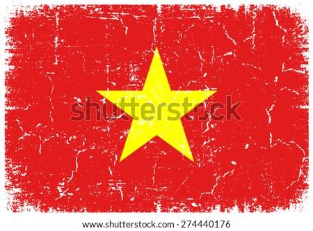 Vietnam grunge flag.Vietnamese flag with grunge texture.Vector template. - stock vector