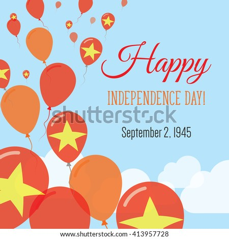 Vietnam independence day greeting card flying stock vector 413957728 vietnam independence day greeting card flying flat balloons in national colors of vietnam happy m4hsunfo