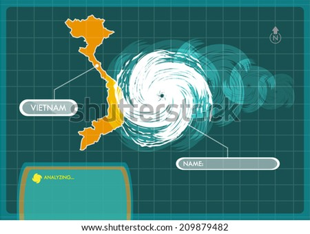 Vietnam Map with Eye of Typhoon, Cyclone or Storm Vector - stock vector