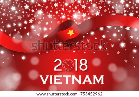 Vietnam new year 2018 national greeting stock vector hd royalty vietnam new year 2018 national greeting card luxury style flag ribbon concept vector illustration m4hsunfo