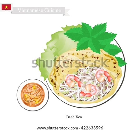 Vietnamese Cuisine, Banh Xeo or Traditional Crispy Pancake with Shrimps and Bean Sprouts. One of The Most Popular Dish in Vietnam.