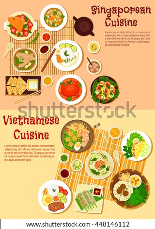 Vietnamese spring rolls and Singaporean cuisine chilli crab, seafood curries and meat soups, shrimp salad and nasi lemak rice, flatbread and rice pancake, noodles with meatballs and vermicelli caakes