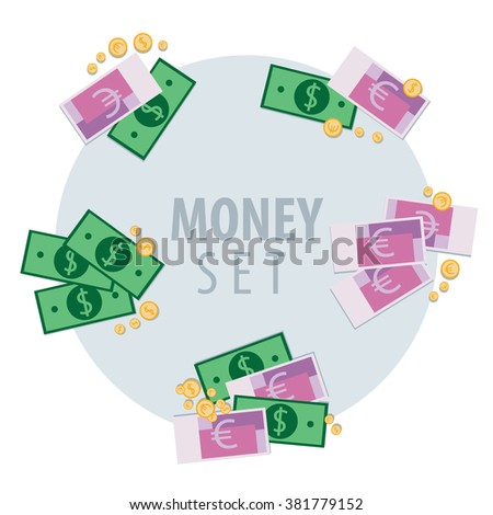 View from above on set of different bunches of money such as dollar, euro and coins. Vector illustration - stock vector