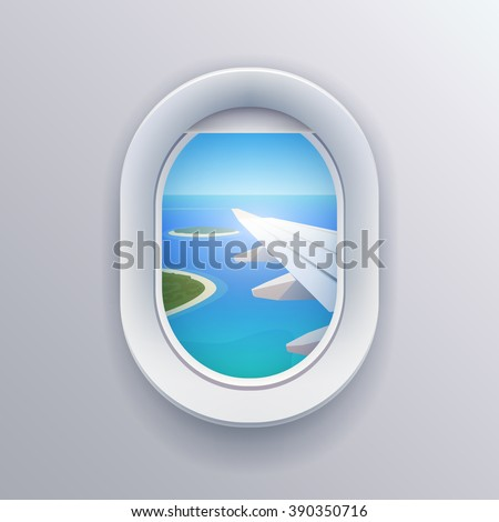 View from plane. View from airplane. Window plane. Airplane view. Aircraft window. Flight window. Airline passenger. Vacation destinations. Summer holiday. Tropical beach. Flat web vector illustration - stock vector