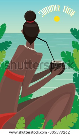 View from the back on dark-skinned girl sitting in jungle, looking at ocean and drinking coconut - Summer Time concept and lettering. Vector illustration - stock vector