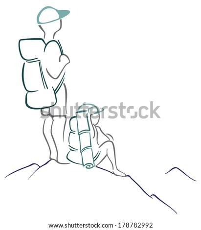 View from the mountain - stock vector