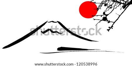 View Mount Fuji Kyoto and Osaka flowers red sun, vector - stock vector