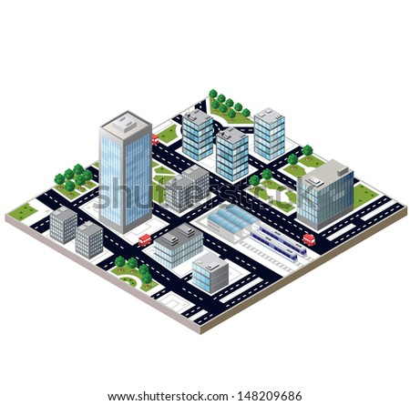 View of a city block to the railway station and transport - stock vector