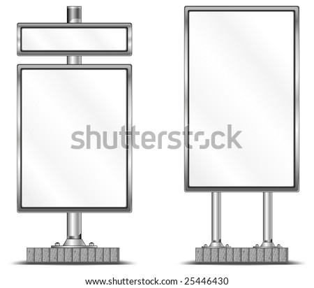 View of blank highway vertical billboard for advertising, construction, illustration - stock vector