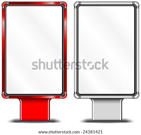 View of blank vertical billboards for bus stop advertising, construction, illustration - stock vector