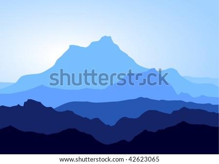 View of blue mountains - vector - stock vector