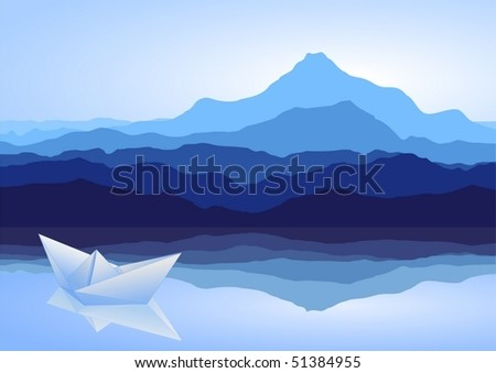 View of blue mountains with lake and paper ship - vector - stock vector