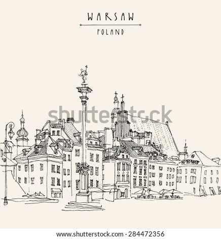 View of Castle Square in old center of Warsaw, Poland. Historical buildings line art. Vector drawing with a pen and pencils on paper. Travel sketch, hand lettering. Monochrome postcard  template - stock vector
