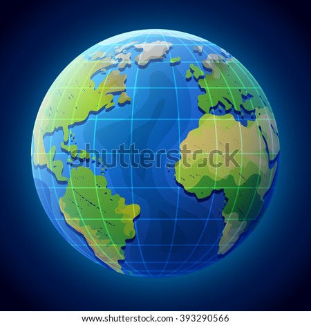 View of globe from space. Earth planet with ocean and continents. Qualitative vector illustration for travel, planet Earth, geography, tourism, world map, trip, cartography, etc - stock vector