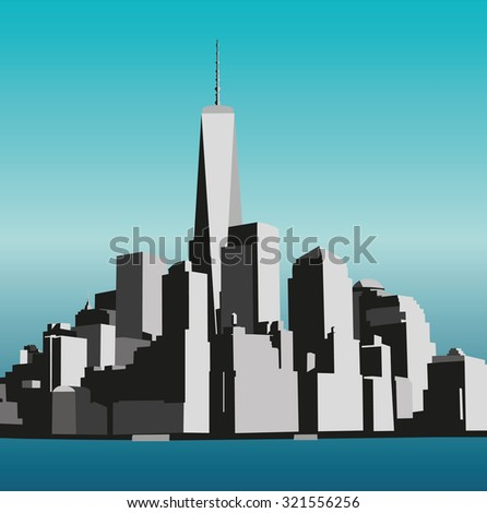 View of Manhattan from the Hudson River side. New York City - stock vector