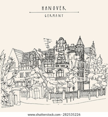 View of old center in Hanover, Germany, Europe. Historical building line art. Monochrome drawing with a pen on paper. Quality travel sketch with hand lettering. Vintage postcard illustration template